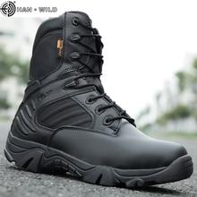 Мужские ботинки в стиле милитари из специальной кожи; водонепроницаемые ботильоны в стиле пустыни; Рабочая обувь в армейском стиле; большие размеры 39-47