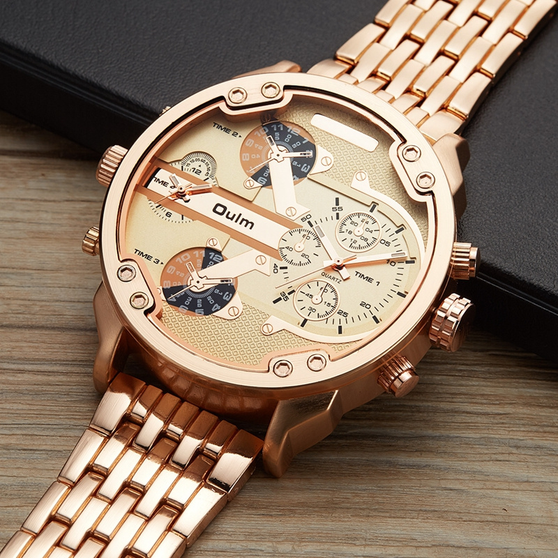 Oulm Male Military Watches Golden Hour Oversized Big Quartz Watch Top Brand Men Full Stainless Steel Wristwatch montre homme 10