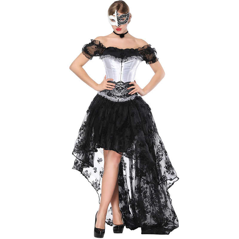 9e1ffeff3f3 Women Black Steampunk Corset Dress Victorian Retro Gothic Clothing Corset  Top Burlesque Lace Wedding Party Corsets