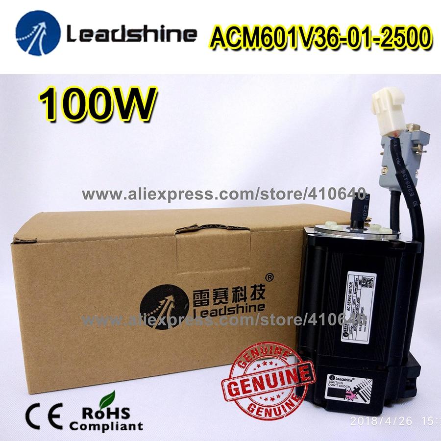 Genuine! Leadshine ACM601V36 ACM601V36-01-2500 100W Brushless AC Servo Motor 2500 Line Encoder and 3000 RPM Speed Free Shipping leadshine 1000 w 220v ac servo motor acm13010m2f 51 b el5 m1000 1 51 nema51 max 3000 rpm and 14 1 nm torque 2500 line encoder