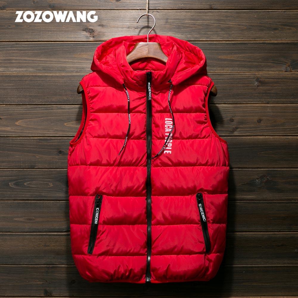 ZOZOWANG 2019 Autumn Winter Cotton Padded Hood Vest Coat Men Thick Vest Hoodies Parka Coat Male Quilted Winter Vest Coat M-4XL