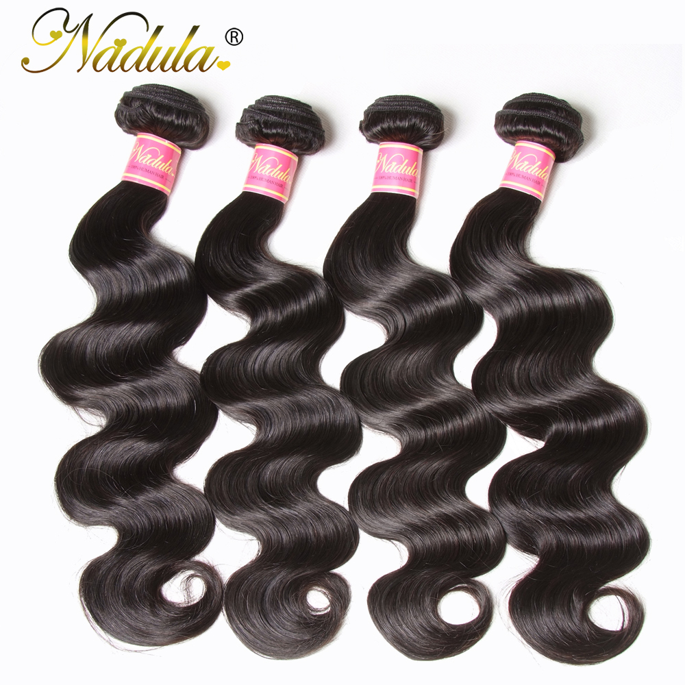 Nadula Hair 4 Bundles Peruvian Body Wave Hair 100% Human Hair Weaves 8-30inch Natural Color Remy Hair Extensions