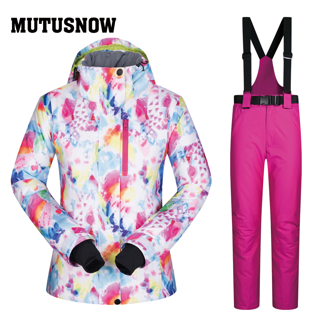 Women Warm Winter Jumpsuit Waterproof Ski Snow Suit Outdoor Sport Overall FZ