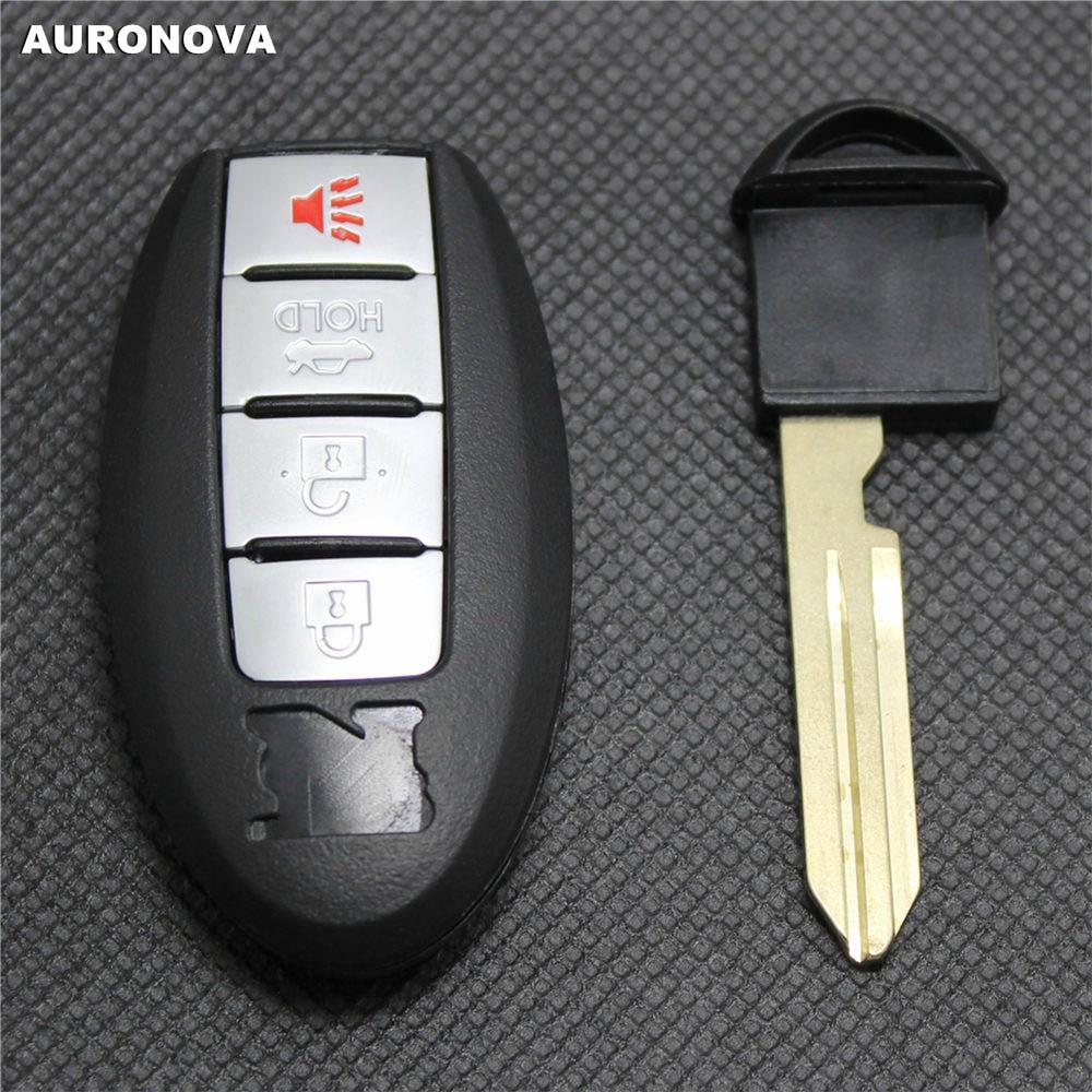 AURONOVA nueva carcasa de llave de repuesto para Nissan GTR Teana Sylphy Tiida Qashqai Morano 3 + 1 botones funda para mando a distancia del coche