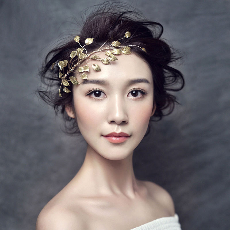 TUANMING Fashion Gold Silver Hairbands Bride Leaf Headbands Charm Tiaras Leaves Wedding Hair Accessories Women Hair Jewelry 03 red gold bride wedding hair tiaras ancient chinese empress hat bride hair piece