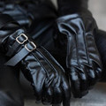1/3 BJD doll gloves BJD uncle short black leather gloves double buckle - SD13 SD17