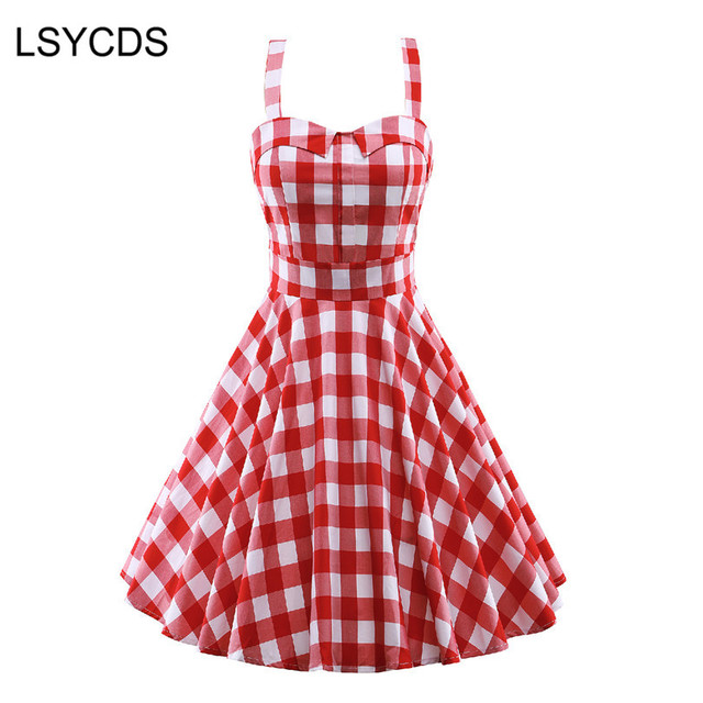 2018 Women Spaghetti Strap Dress Vintage Hepburn s Red Plaid Sleeveless  Retro Casual Party Robe Rockabilly 50s 5e290df94eca