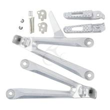 Silver Rear Passenger Footrest Foot pegs Brackets For Honda CBR600RR 2005-2006 Silver Motorcycle(China)
