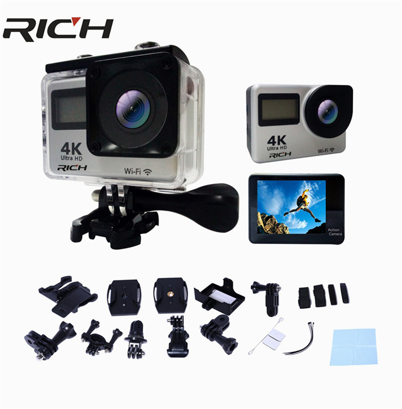 RICH ultra FHD 4K Action Camera WiFi 1080P 60fps 2.0 LCD 170D Full HD 30M WaterproofVideo Action DV Sports Camera add TF card f88 action camera black