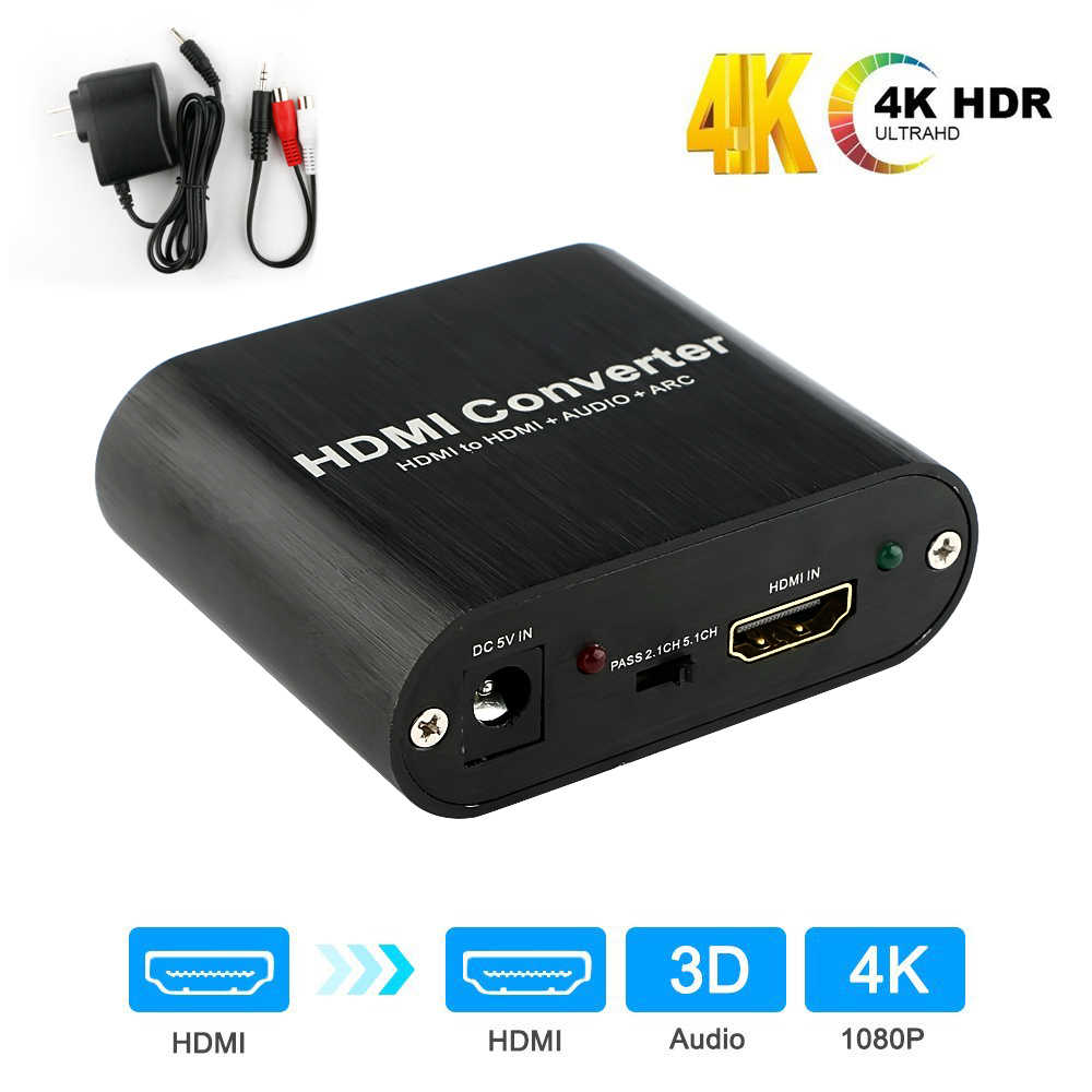 2020 4K HDMI Audio Extractor HDMI To HDMI And Optical TOSLINK SPDIF + 3.5mm Stereo Audio Extractor Converter HDMI Audio Splitter