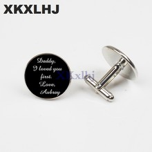 XKXLHJ New Personalized Bride Round Father Cufflinks Silver Cufflinks High Quality Art Photo Jewelry Clothing Accessories(China)