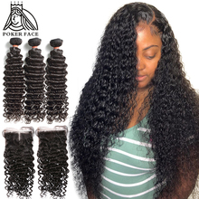 Deep-Wave-Bundles Closure Weave Curly Water-Wave 30inch 100%Human-Hair Brazilian