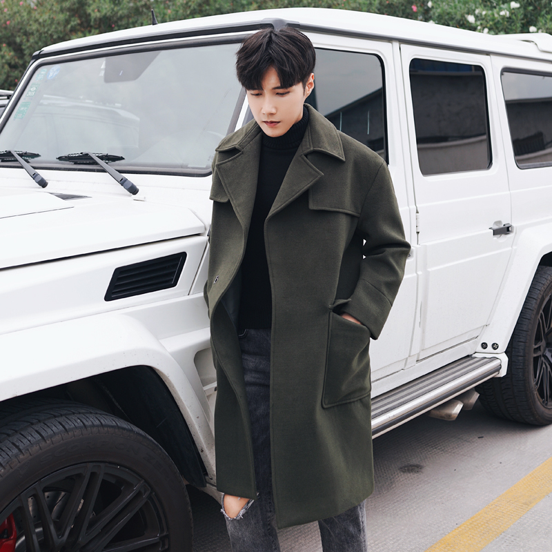 New Warm Wool Winter Long Coat Men Fashion Casual Solid Pockets Jackets Outerwear Mens Blends Loose Trench Overcoat DS50823