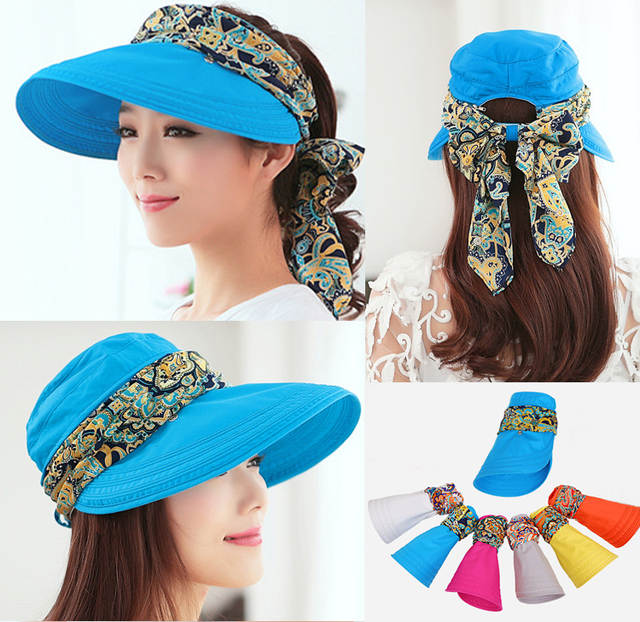 placeholder Free shipping 2018 summer hats for women chapeu feminino new  fashion visors cap sun collapsible anti 612c319b0db