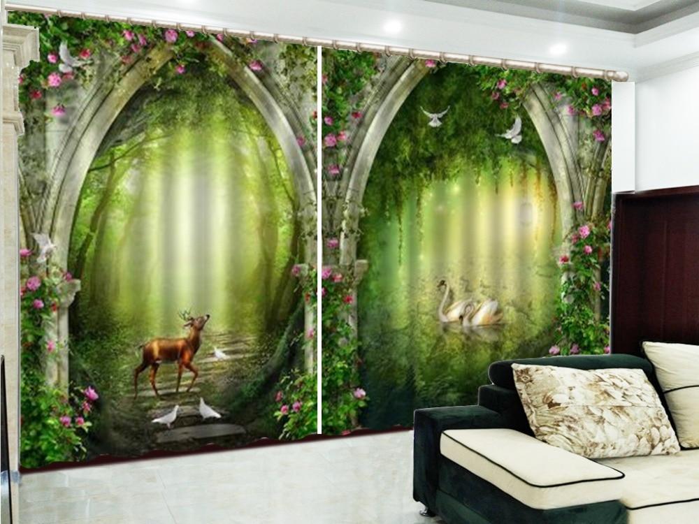 Rideau 3d fantaisie forêt Linglu fleur Arches 3D animaux rideaux salon chambre belle pratique rideaux occultants - 4