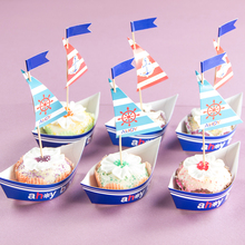 Pack of 20 Nautical Sailboat Birthday Party Cake Topper Ahoy Cupcake Wrapper Baby Shower Boy Birthday