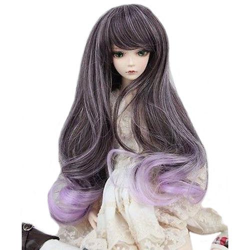 [wamami] 97# Purple Wavy Long Wig For 1/3 SD AOD DOD DZ BJD Dollfie 8-9 inch fashion red hair extension fur wig 1 3 1 4 1 6 bjd wigs long wig for diy dollfie