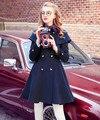 2017 новый осень зима новый Британский ветер темно-синий плащ пальто двубортный Тонкий пальто и пиджаки T844