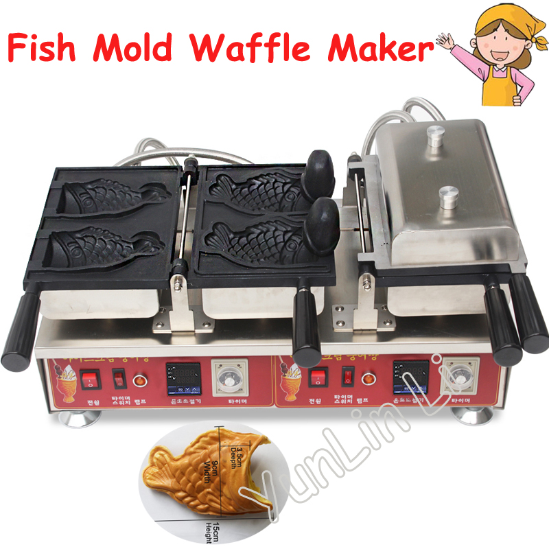 Fish Mold Waffle Maker Commercial Fish-shaped Cup Machine Non-stick Fish Shaped Ice Cream Cone Machine NP-784 4pcs fish moulds commercial use non stick electric ice cream fish taiyaki maker machine baker