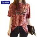 Mujeres con estilo de la Camiseta Media Manga de La Mujer T-shirt Patrón de La Letra Camiseta de la Mujer 2017 Moda de Señora Casual Top Tees Camisetas Mujer