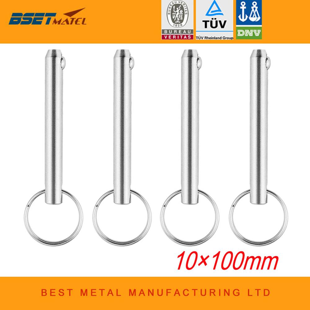 4PCS 10*100mm BSET MATEL Stainless Steel 316 Marine Grade Quick Release Ball Pin For Boat Bimini Top Deck Hinge Marine Boat