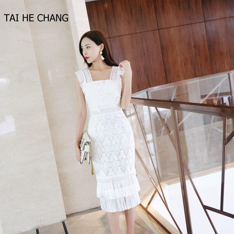 2018 femmes haut de gamme nouvelle mode designer élégant robes moulante slim casual parti piste d'été dentelle crochet sexy blanc robe