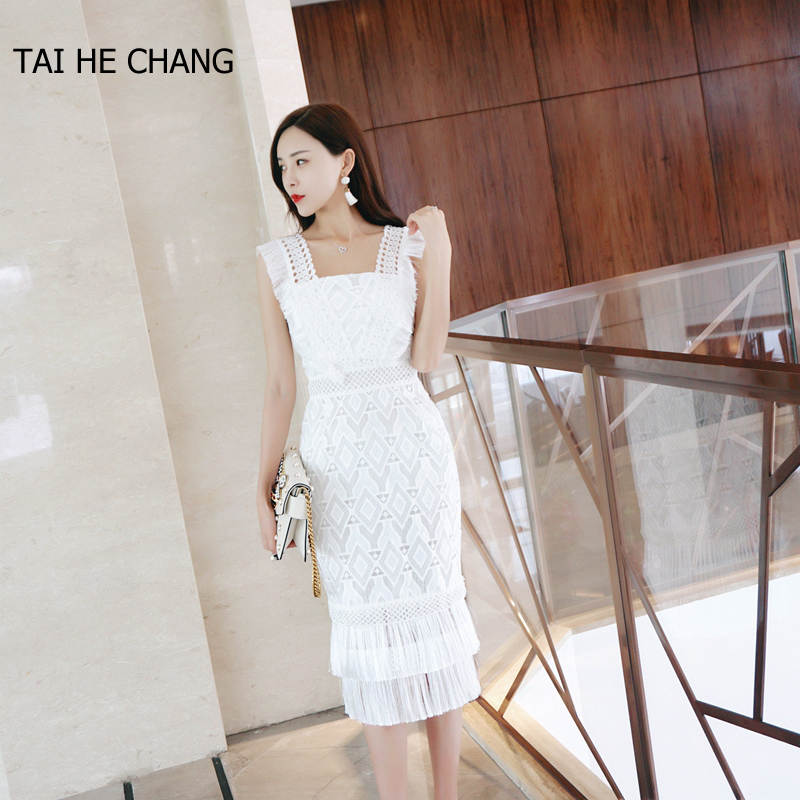 2018 women high end new fashion designer elegant vestidos bodycon slim casual party runway summer lace crochet sexy white dress