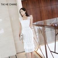 2018 women high end new fashion designer elegant vestidos bodycon slim casual party runway summer lace crochet sexy white dress