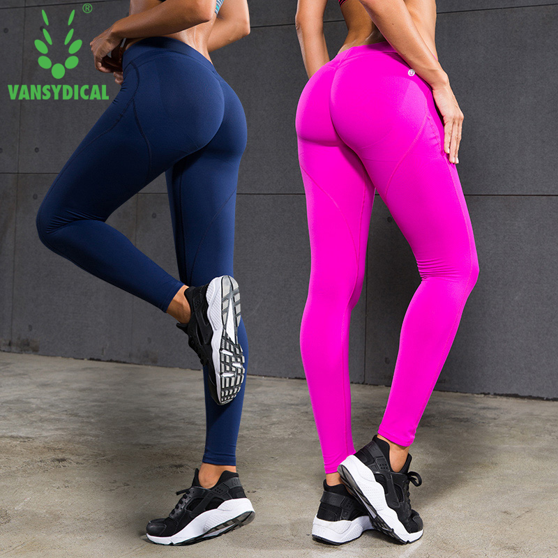 VANSYDICAL Casual   Leggings   Women Pants Exercise Fitness Workout   Leggings   Trousers Slim Compression Pants Sexy Hip Push Up