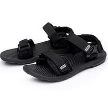 Plus Size 38-45 Men's Beach Flat Sandals New Design Fashion Hook & Loop Summer Footwear Black High Quality Men Casual Shoes