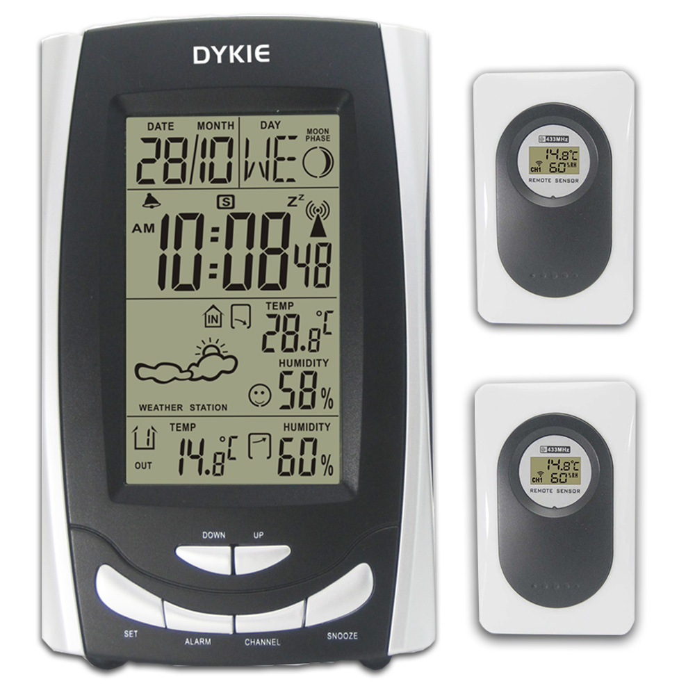 DYKIE Wireless DCF LCD Weather Station Indoor Outdoor Thermometer Hygrometer Digital Temperature Humidity Snooze Alarm Clock 1pcs high accuracy lcd digital thermometer hygrometer electronic temperature humidity meter clock weather station indoor