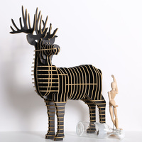 1 set Nordic Style Wooden DIY Deer For Art Home Office and Hotel Desk Decoration Wood Crafts TOM001M