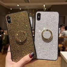 Diamond Finger Ring Case For iphone XR iphone XS Max X 10 Coque Cover For iphone 8 7 plus iphone 6 s 6s plus Soft Bling Cases 10 cheap Fitted Case Kickstand Heavy Duty Protection Anti-knock Dirt-resistant Adsorption With Finger Ring Apple iPhones IPHONE 8 PLUS