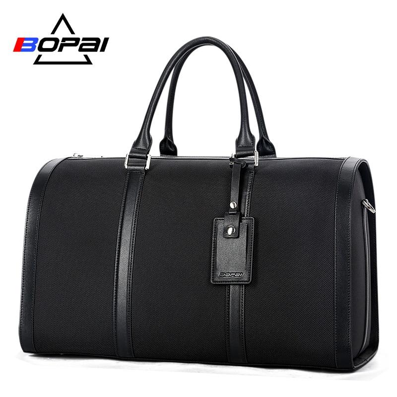 BOPAI New Designed Business Men Travel Bags Unisex Big Handbag Waterproof Men Duffle Shoulder Bag Women Carry On Luggage Black