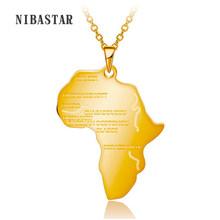 Hiphop Africa Necklace Gift Silver/Gold Color Pendant & Chain Wholesale African Map Men/Women Trendy Jewelry(China)