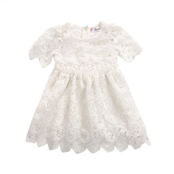 Emmababy  Baby Girls dress Princess Floral Lace Dress  hollow out  short sleve Party Pageant Tutu Dresses 1