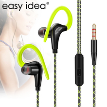 EASYIDEA HiFi Earphone Super Bass Headphones Sweatproof Running Headset With Mic Ear Hook For All Mobile Phone Sport Earphones