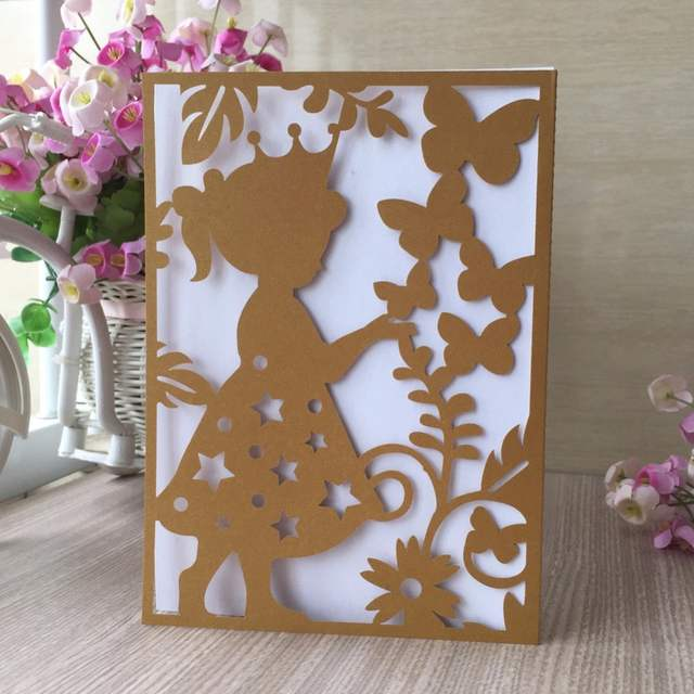 20Pcs/Lot Beautiful Girl Laser Cut Invitation Card Birthday Party  Decoration Party Souvenirs Greeting Card