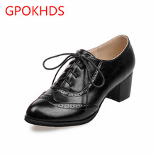 Big size 33-45 high quality hot sale 2017 new style women casual black color cut-outs lace up oxfords shoes flats shoes