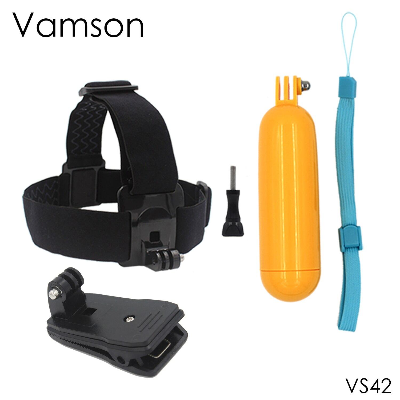 Vamson for Go pro Accessories Head Strap Floaty bobber 360-degree Clip For Xiaomi for Yi 4K for Gopro Hero 5 4 3+ for SJCAM VS42