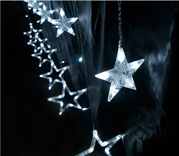 168leds 12stars 2M Droop 0.6~1m LED Star Curtain Light Icicle Lighting  Waterproof Outdoor Christmas String Extend Plug X 50pcs