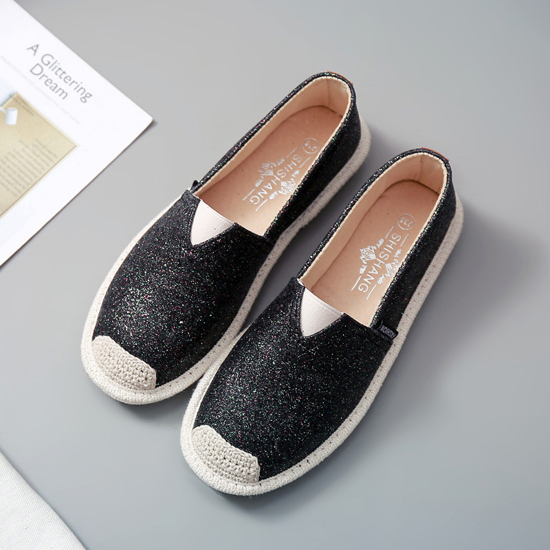 Women Loafers Paillette Spring Flat Shoes Ladies Sequin Fisherman Casual Shoes Lightweight Breathable Golden Loafers Lazy Flats in Women 39 s Flats from Shoes