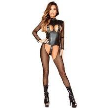Erotic Lingerie Catsuit Mesh Fish-Net Open-Crotch Wet-Look Transparent Black Sex-Woman