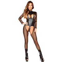 Black Erotic Lingerie For Women Jumpsuit Halter Fishnet Hook And Eye Belt Transparent Mesh Fetish Wet Look Catsuit Sexy Bodysuit