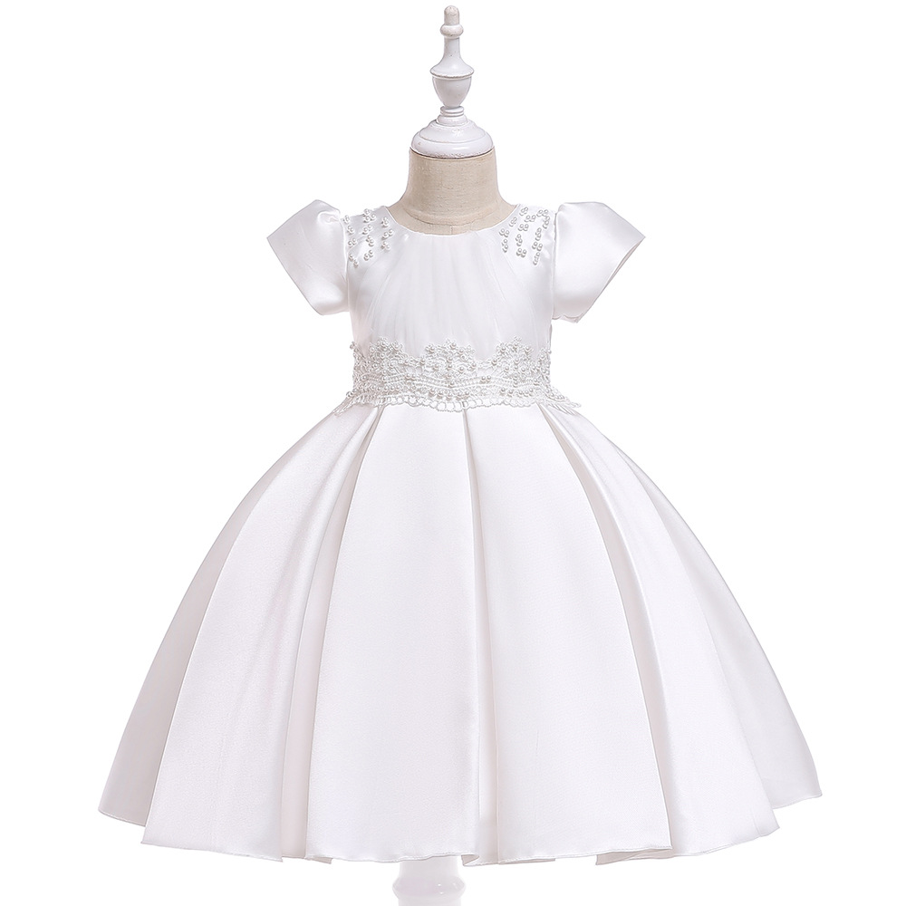 Ballgown  White  Short Sleeves Satin  Flower Girl Dresses With Pearls First Communion Dresses 2019 FormalProm  Party Gowns