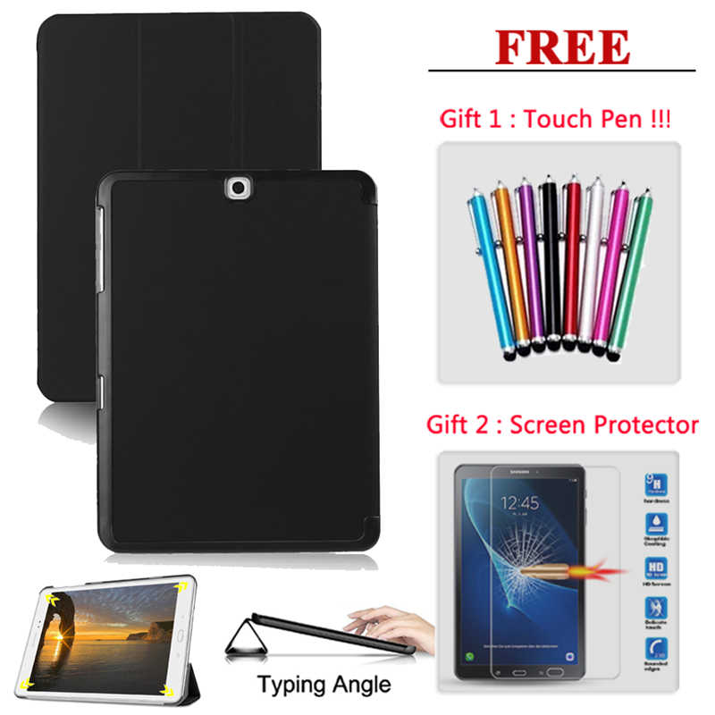 Gratis Screen Protector Glas + Tablet Case Cover Voor Samsung Galaxy Tab S2 S3 S4 9.7 10.5 SM T710 T715 t810 T815 T820 T825 T830