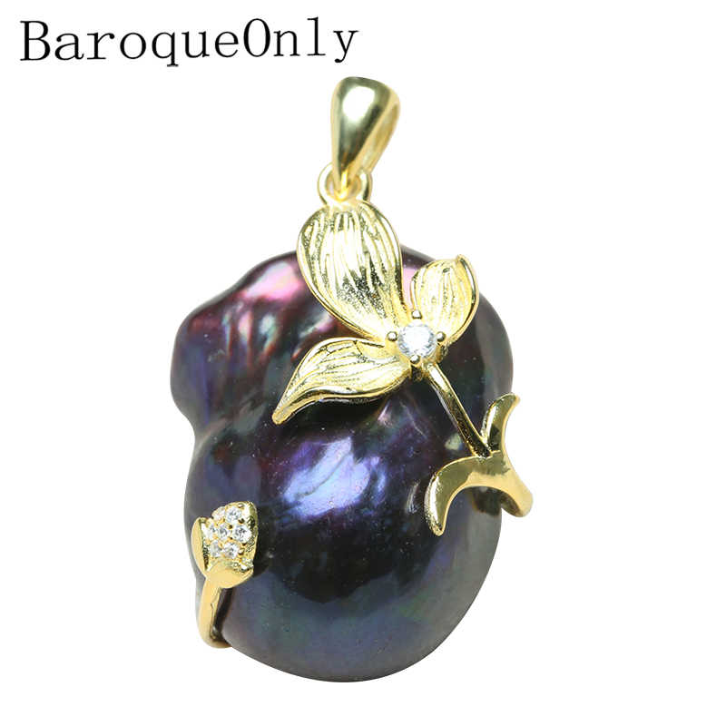 BaroqueOnly natural freshwater black peacock green pearl pendant 925 silver sterling  AAAA Zircon women gifts jewelry necklace