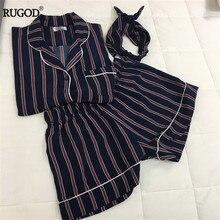 RUGOD New Fashion Women Pajamas Turn-down Collar Sleepwear 2 Two Piece Set Shirt+Shorts Striped Casual Pajama Set