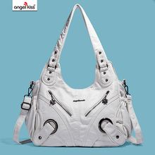05f04e6121 Angelkiss Girls Handbags Female Corss Shoulder Bags Tote PU Washed Leather  Handbags 2 Top Zippers Fashion