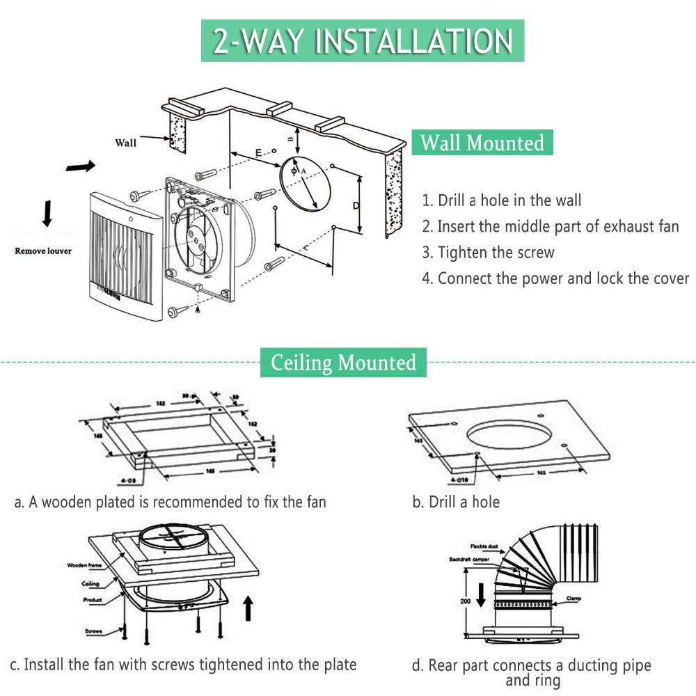 4 home silent exhaust fan kitchen hood ventilation for bathroom ceiling window wall air extractor with 4w led light ventilator